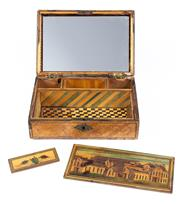 Sale 8575J - Lot 63 - 18th century Prisoner of  War folk art box with overall exterior fine timber inlay, the interior revealing a mirror and two ldded co...