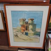 Sale 8640 - Lot 2041 - Justin Parker - Industrial Scene 1992 54.5 x 45cm