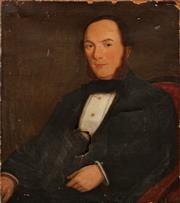 Sale 8682 - Lot 2043 - C19th English School Portrait of a Victorian Gentleman , oil on canvas (AF), 76 x 63.5cm, unsigned -