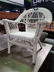 Sale 8669 - Lot 1034 - White Painted Wicker Kids Chair