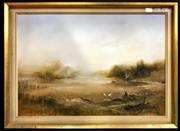 Sale 8949 - Lot 2025 - Ken Taber Wetlands oil on board, 47 x 64.5cm (frame), signed -