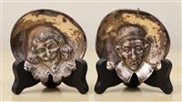 Sale 8963H - Lot 22 - A pair of sterling silver pin dishes shaped as 17th century style portrait or character figures marked London SM & Co, Height 8cm