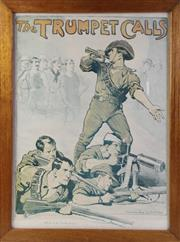 Sale 8994W - Lot 639 - Framed The Trumpet Calls Print By Norman Lindsay (73cm x 55cm)
