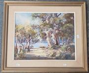 Sale 9019 - Lot 2093 - Evelyn Campbell, Riverside Gums, Oil, 39x49.5cm