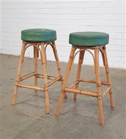 Sale 9146 - Lot 1025 - Pair of cane barstools (h:67cm)