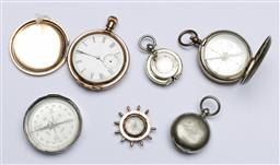 Sale 9156 - Lot 18 - An Elgin R.G pocket watch, compasses and sovereign cases, (as found)