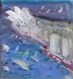Sale 9191A - Lot 5003 - GERRARD LANTS (1927 - 1988) Sydney Opera House gouache 28 x 25 cm (frame: 45 x 51 x 2 cm) signed
