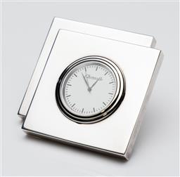 Sale 9255H - Lot 79 - A Christofle heavy silver-plated square form desk clock, Width 8cm, RRP $785.