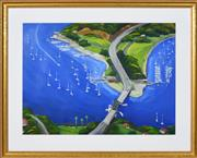 Sale 8349A - Lot 144 - David Zhang (XX - ) - Harbour Scene, 1998 59.5 x 81.5cm