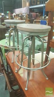 Sale 8406 - Lot 1090 - Set of Three Industrial Style Zinc & Oak Swivel Stools