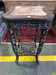 Sale 8559 - Lot 1086 - Antique Carved Chinese Rosewood Pedestal, with inlaid marble panel, pierced frieze, legs & shelf carved scrolls, flowers & ruyi