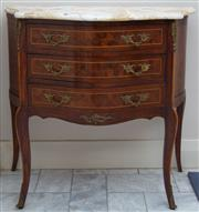 Sale 8414A - Lot 6 - A French Louis style bombe chest of three drawers with parquetry and ormolu mounts and shaped nougatine marble top, H 76 x W 81 x D ...