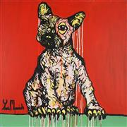 Sale 8903A - Lot 5019 - Yosi Messiah (1964 - ) - Fire Red Dog 102 x 102 cm