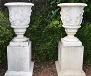 Sale 8950G - Lot 67 - A pair of large GRC urns on plinths, 1.72m Height  base measurement 70cm by 70cm