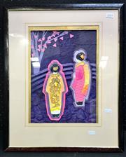 Sale 8945 - Lot 2093 - Artist Unknown - 2 Oriental Figures in Landscape, Mixed Media, 35x25cm