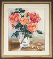 Sale 9053 - Lot 2009 - Irene Little - A Vase of Roses 44.5 x 37 cm (frame: 62 x 55 x 4 cm)