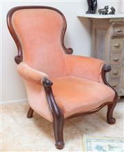 Sale 9071H - Lot 14 - A Victorian grandmother chair with a mahogany frame and dusty pink upholstery, Height of back 96cm x Width 74cm