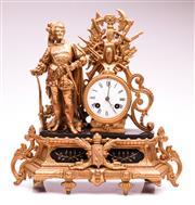 Sale 9081 - Lot 2 - A 19th Century French Gilt Figural Mantle Clock (H: 36cm W:33cm D:12cm)
