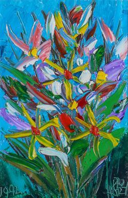 Sale 9093A - Lot 5023 - Kevin Charles (Pro) Hart (1928 - 2006) - Flowers 1992 28.5 x 18.5 cm (frame: 53 x 41 x 3 cm)