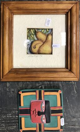 Sale 9103 - Lot 2035 - K. Melbye Pears, 1998, mixed media relief, frame: 26 x 26 cm, signed and dated lower centre, together with stylised relief of a fa...