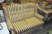 Sale 8331 - Lot 1057 - Stripe Upholstered Wing Back Two Seater Lounge