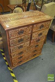 Sale 8331 - Lot 1033 - Bone Inlaid Timber Chest of Ten Drawers