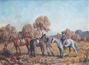 Sale 8510 - Lot 562 - Daryl Lindsay (1890 - 1976) - Mustering Horses 28.5 x 39cm