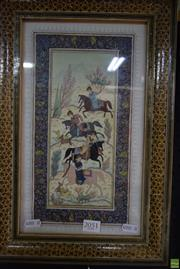 Sale 8578T - Lot 2051 - Indo-Persian Miniature Hunting Scene with inlaid frame (41 x 27cm frame size)