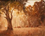 Sale 8642 - Lot 539 - Kevin Best (1932 - 2012) - Cattle Grazing 39.5 x 49.5cm
