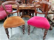 Sale 8848 - Lot 1074 - Set of Four Victorian Mahogany Balloon Back Chairs. upholstered in velvet & on turned legs