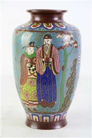 Sale 8935D - Lot 682 - Chinese bronze and cloisonne vase, H24cm