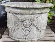 Sale 8950G - Lot 68 - Magnificent pair of European cement planters with aged patina 70 cm height 1.04 diameter