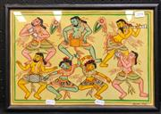 Sale 8945 - Lot 2094 - Maung Mya - Dancers, Watercolour, 25x37cm
