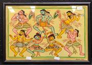 Sale 8949 - Lot 2071 - Maung Mya - Dancers, Watercolour, 25x37cm