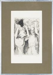 Sale 9028 - Lot 2056 - Artist Unknown - Woman & Man Carry Baskets, 1973 24 x 16.5 cm (frame: 49 x 35 x 3 cm)