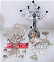 Sale 8369A - Lot 21 - A group of plated wares including a leaf dish, a galleon, miniature table and chairs etc