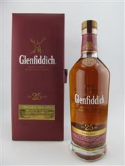 Sale 8411 - Lot 698 - 1x Glenfiddich 25YO Rare Oak Single Malt Scotch Whisky - 43% ABV, 700ml in leather presentation box