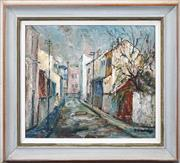 Sale 8443 - Lot 502 - Doreen Gadsby (1926 - ) - Narrow Street, Woollahra 30 x 34cm