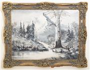 Sale 8414A - Lot 8 - G. WRD? Artist Unknown - Alpine Scene 44 x 60cm