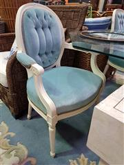 Sale 8657 - Lot 1094 - Pair of Teal Upholstered Carvers