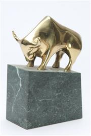 Sale 8667 - Lot 59 - Brass Bull Ornament on Stand (H:20cm)