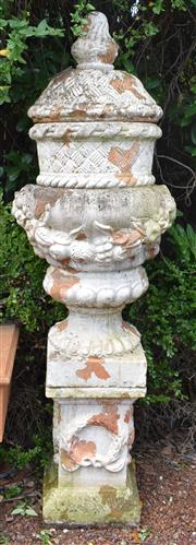 Sale 8950G - Lot 69 - Spectacular pair of aged terracotta urns on plinths (small damage on one finial) 1.95m height 65cm wide