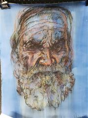 Sale 8978 - Lot 2085 - 2 Works: David Norman White, Portrait, Pastel; Ceebe, Black Dog, Mixed Media