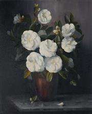 Sale 9047 - Lot 558 - Dudley Drew (1924 - 2015) - Vase of White Camelias 59.5 x 50 cm (frame: 78 x 68 x 4 cm)