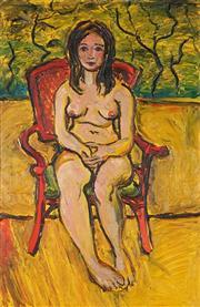 Sale 9047 - Lot 505 - Paul Delprat (1942 - ) - Nude in Red Chair in the Garden 90 x 59 cm (frame: 105 x 74 x 5 cm)