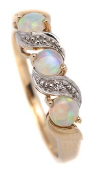 Sale 9074 - Lot 373 - A 9CT GOLD OPAL AND DIAMOND RING; set with 3 round cabochon crystal opals between rhodium plated scroll features set with 2 single c...