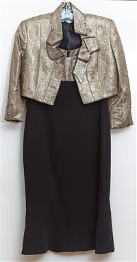 Sale 9080H - Lot 78 - A Covers suit set, comprising dress and bolero jacket with lack crepe fabric to skirt and patterned metallic top, Both size 10