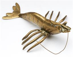 Sale 9144 - Lot 46 - Brass figure of a crayfish - missing a leg, antennae and mandibles (L:24cm)