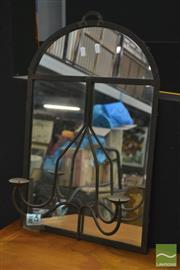 Sale 8361 - Lot 1010 - Pair of Mirrors with Candle Holders