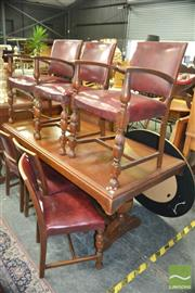 Sale 8383 - Lot 1294 - Seven Piece Timber Dining Setting incl. Table & Six Vinyl Upholstered Chairs incl. Two Carvers
